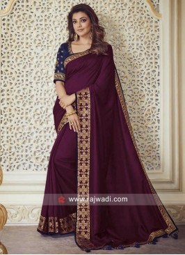 Kajal Aggarwal Border Work Saree
