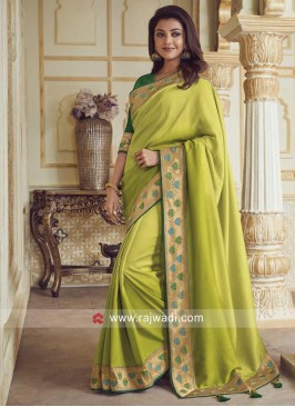 Kajal Aggarwal Border Work Saree in Parrot Green
