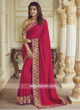Kajal Aggarwal Crimson Border Work Saree