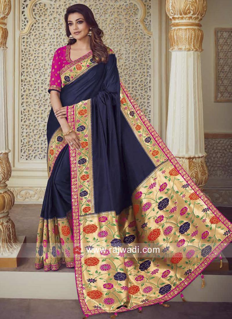 cd2bd1f5b51322 Kajal Aggarwal Dark Blue Designer Saree. Hover to zoom