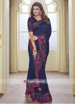Kajal Aggarwal Dark Blue Saree