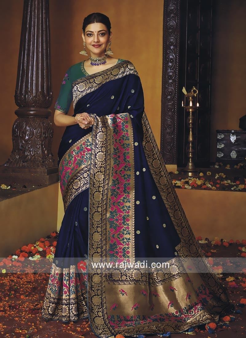 Kajal Aggarwal Dark Blue Wedding Saree