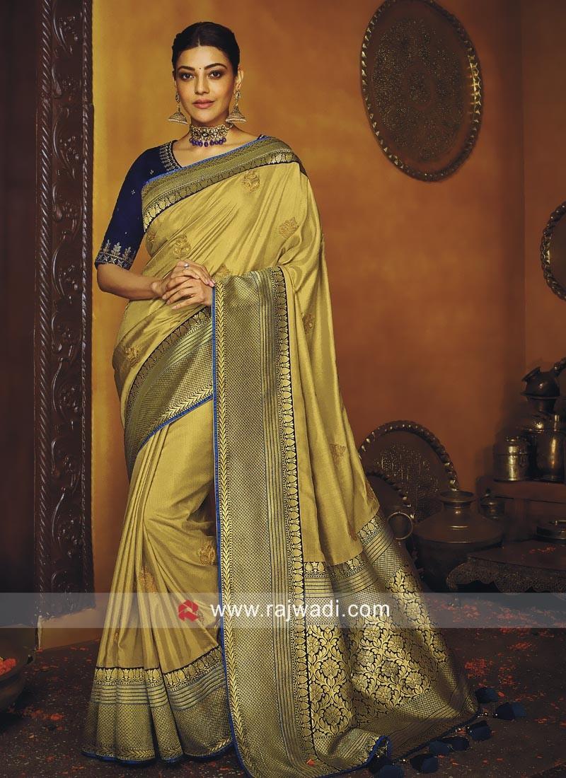 Kajal Aggarwal Golden Cream Art Silk Saree