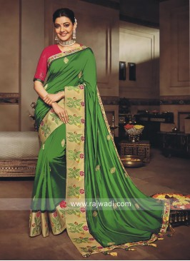 Kajal Aggarwal Green Art Silk Saree