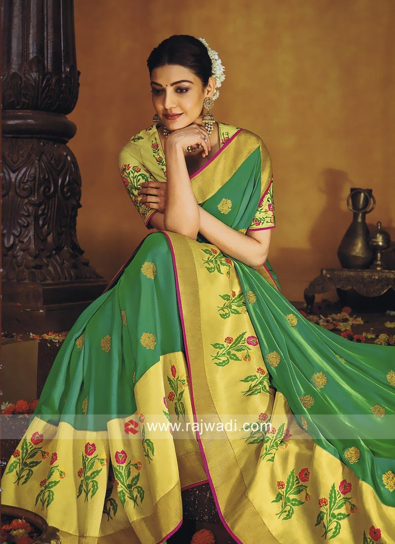 Kajal Aggarwal Green Zari Work Saree