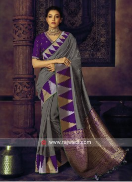 Kajal Aggarwal Grey Wedding Saree