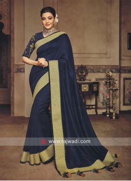 Kajal Aggarwal in Dark Navy Blue Saree