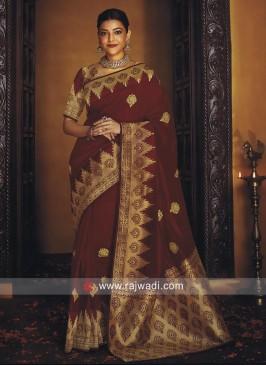 Kajal Aggarwal in Maroon Banarasi Silk Saree