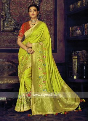 Kajal Aggarwal in Parrot Green Satin Silk Saree