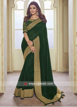 Kajal Aggarwal in Plain Broder Work Saree