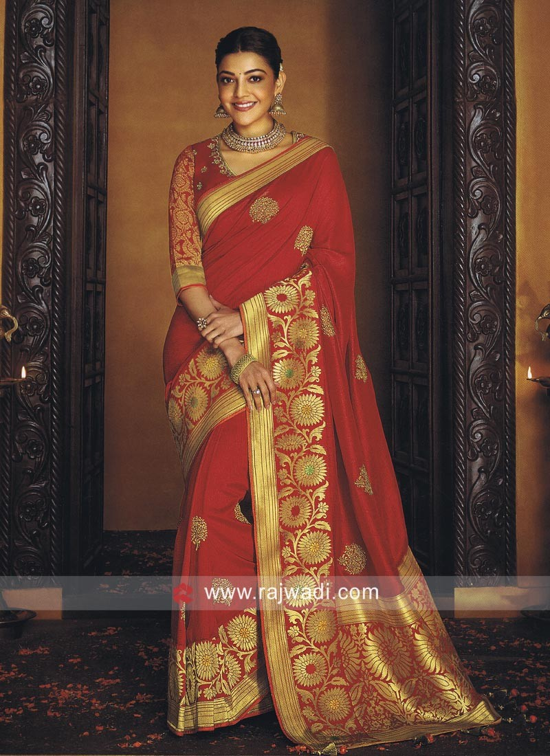 Kajal Aggarwal in Red Saree with Blouse