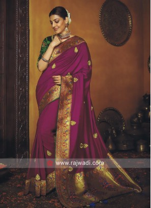 Kajal Aggarwal Magenta Saree with Blouse