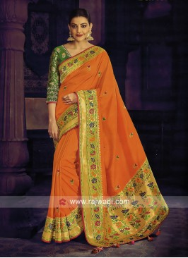 Kajal Aggarwal Orange Art Silk Saree