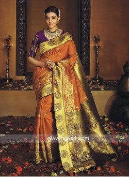 Kajal Aggarwal Orange Sari with Purple Blouse