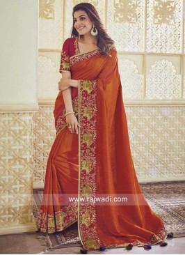 Kajal Aggarwal Plain Border Work Saree
