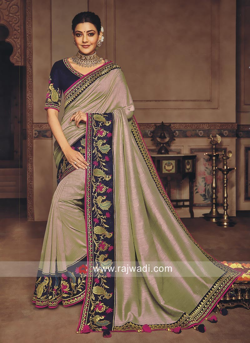 Kajal Aggarwal Saree with Embroidered Border