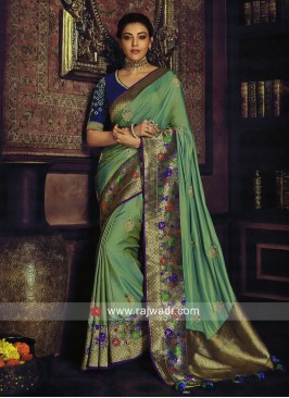 Kajal Aggarwal Satin Silk Saree with Border