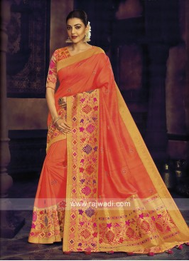 Kajal Aggarwal Wedding Saree in Dark Peach