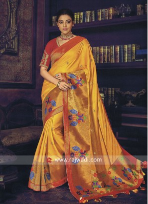 Kajal Aggarwal Wedding Saree with Peacock Motifs