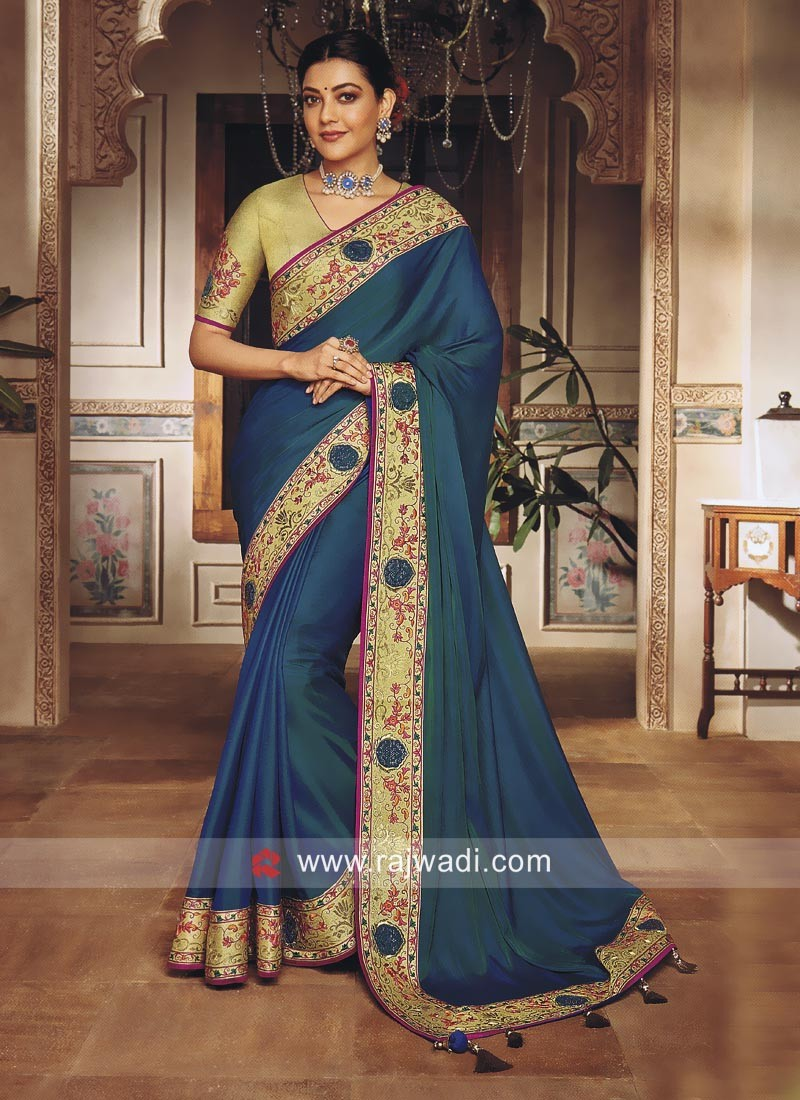 Kajal Aggarwal Wedding Sari in Peacock Blue