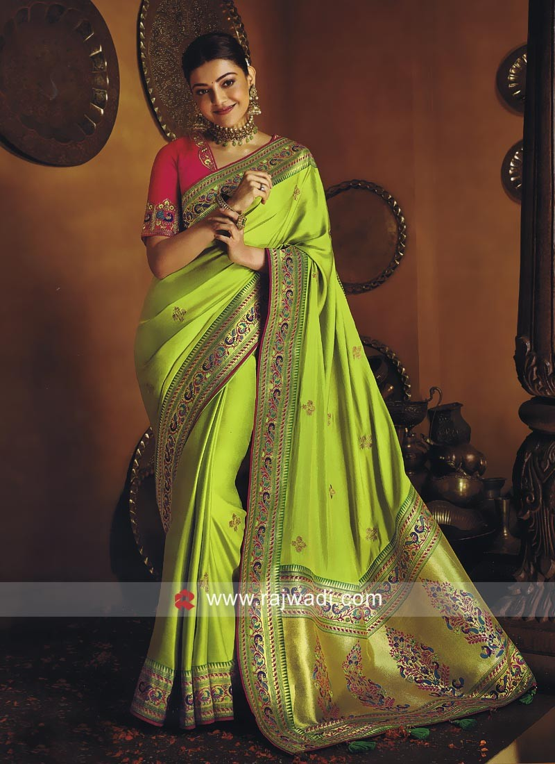 Kajal Aggarwal Wedding Satin Silk Saree