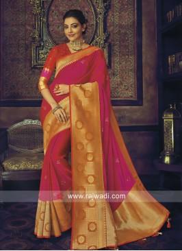Kajal Aggarwal Wedding Satin Silk Saree