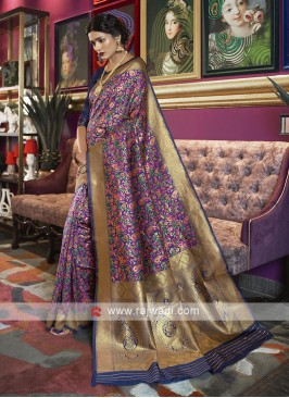 Kalamkari Silk Flower Print Saree In Blue
