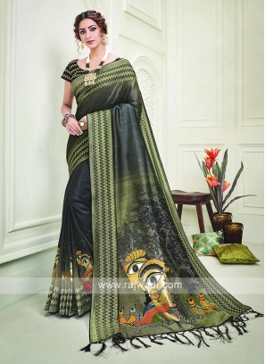 Kalmkari printed Silk Saree