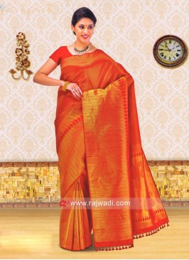 Kancheepuram Silk Saree in Dark Red
