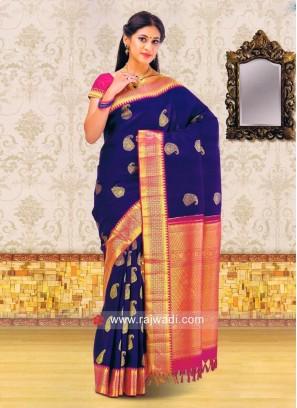 Kancheepuram Silk Saree in Paisley Design