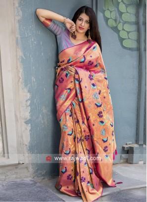 Kanjeevaram Silk Sari with Bird and Floral Motifs