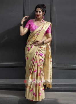 Kanjeevaram Silk Sari with Bird and Floral Motifs