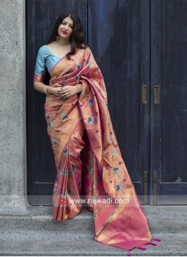 Kanjeevaram Silk Sari with Lotus Motifs