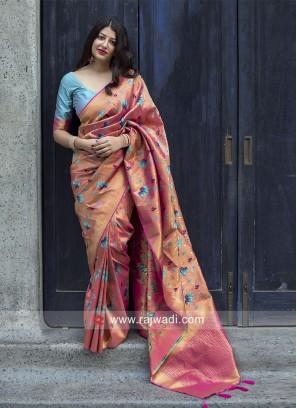 Kanjeevaram Silk Sari with Lotus Motifs