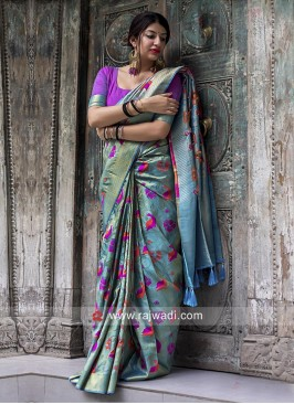 Kanjeevaram Silk Woven Saree in Sky Blue