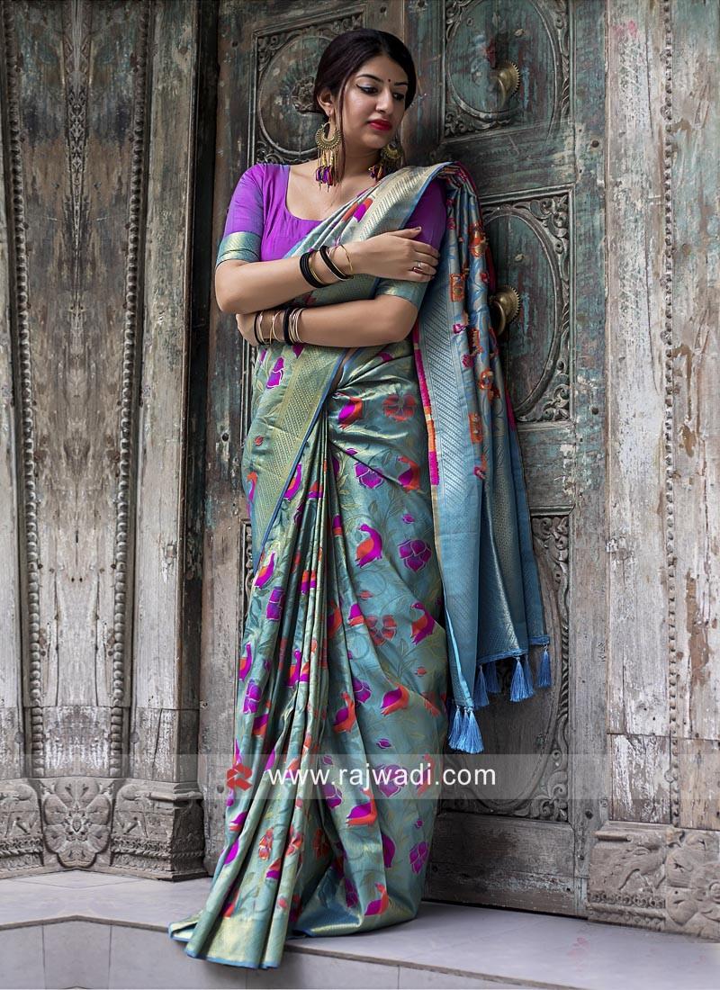 5519fa64a6 Kanjeevaram Silk Woven Saree in Sky Blue. Hover to zoom