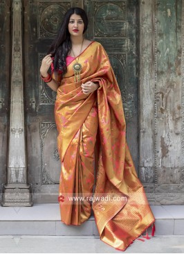 Kanjeevaram Silk Woven Saree with Tassels