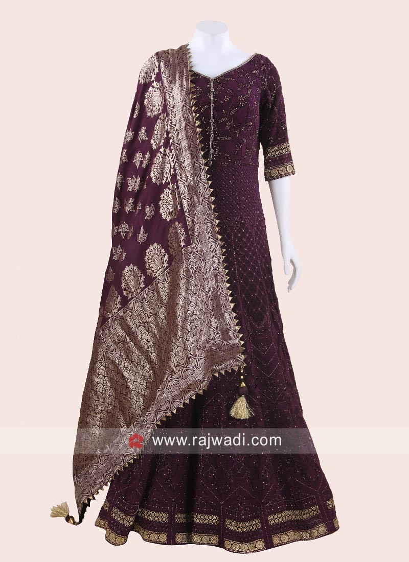 Karachi Work Chiffon Long Anarkali Suit