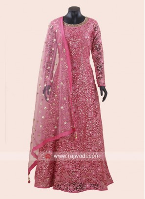 Karachi Work Net Anarkali Suit