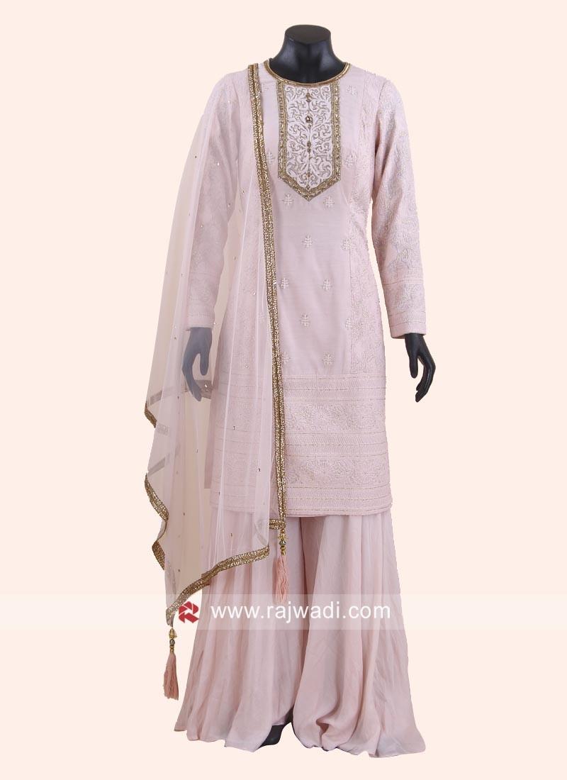 Karachi Work Pink Palazzo Suit
