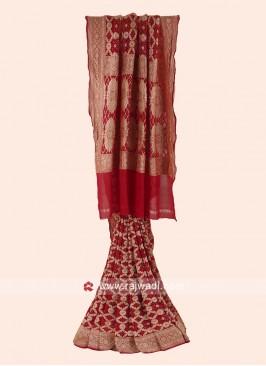 Khadi Chiffon Bandhani Woven Saree