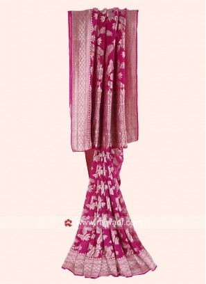 Art Silk Saree in Rani