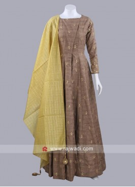 Khadi Cotton Designer Anarkali with Dupatta