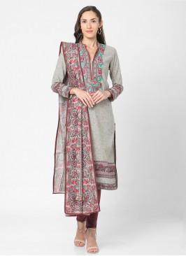 Khaki And Burgundy Color Churidar Suit