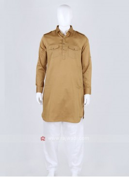 Khaki Black Solid Pathani Suit