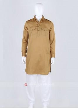 Khaki Black Solid Pathani Suit