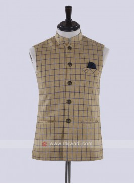 Khaki color chex print nehru jacket