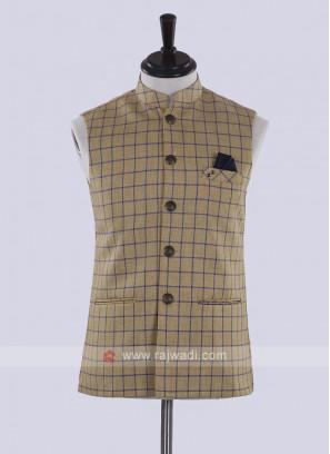 Khaki color chex print nehru jacket