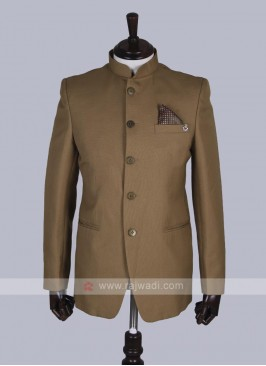 Khaki color solid Jodhpuri Suit
