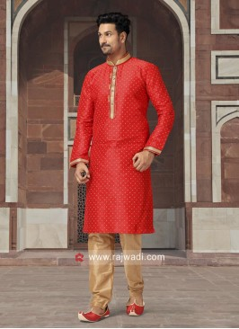 Crimson Color Kurta Set For Wedding